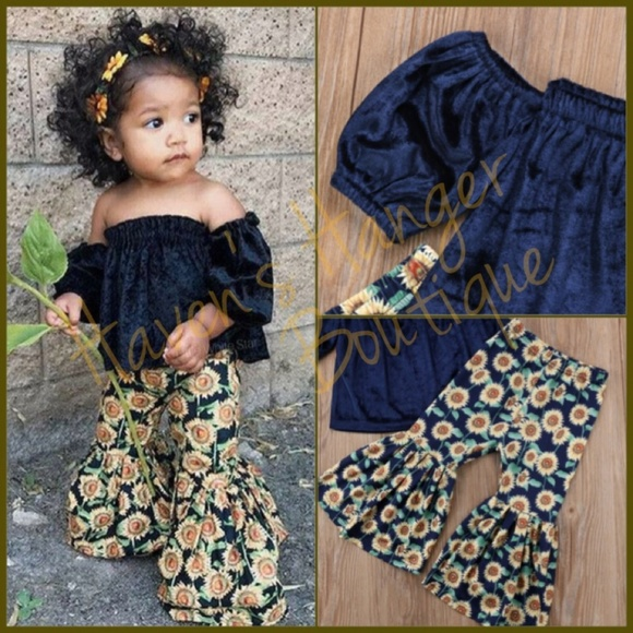Velvet Top   Sunflower Bell Bottom Pants Set e1ae97048